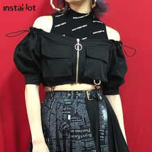 InstaHot Off The Shoulder Zip Up Puff Sleeve Cropped Tops Women Autumn Summer Pocket Streetwear Casual Blouse High Street