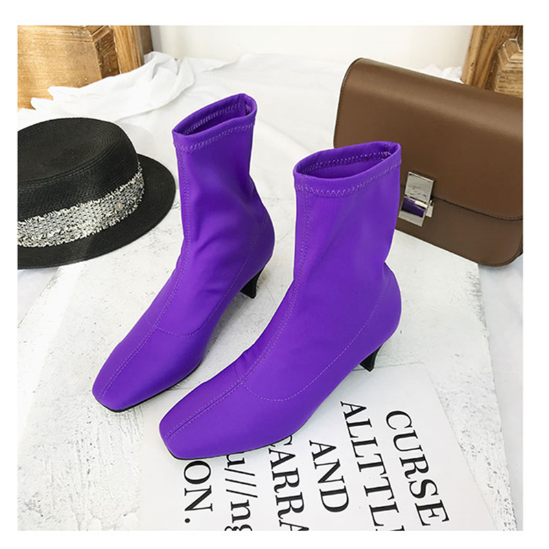 JINJOE shoes woman Sock Boots Square Toe ladies stretch fabric boots Slip On High Heel Ankle Boots Women Pumps Stiletto