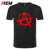 Camisa masculina do símbolo da anarquia da marca da anarquia da impressão do rem t camisa ocasional-punk rock t camisa bedlam mal anarquista rocker da guerra