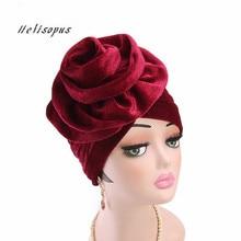 Helisopus New Velvet Turban Hat Women Elegant Muslim Elastic Hat Fashion Female Hair Loss Turban Chemo Cap Hair Accessories