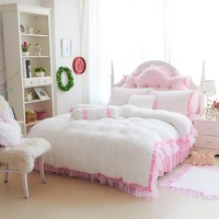 Pink White Domesticated Hen Berber Fleece Big Flower Princess Duvet Cover Separate Beige White Customize
