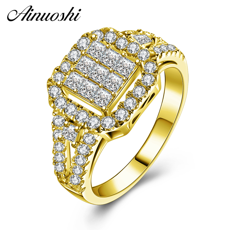 AINUOSHI 10K Solid Yellow Gold Wedding Band 2 Rows Drill Square Cluster Halo Band Ring Luxury Engagement Jewelry for Women Male цена и фото