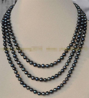 A NEW 3 ROWS 6 7MM BLACK TAHITIAN CULTURED PEARL JEWELRY NECKLACE 17 20 AAA