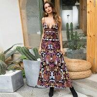 Women Elegant Coffee Velvet Dress Winter Printing Dresses Retro Women 2018 Spaghetti Strap Ladies Office Dress Vestidos Y4113