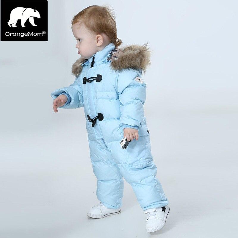 Orangemom jumpsuit kids winter baby snowsuit + nature fur , 90% duck down jacket for girls coats Winter Park for boys overalls