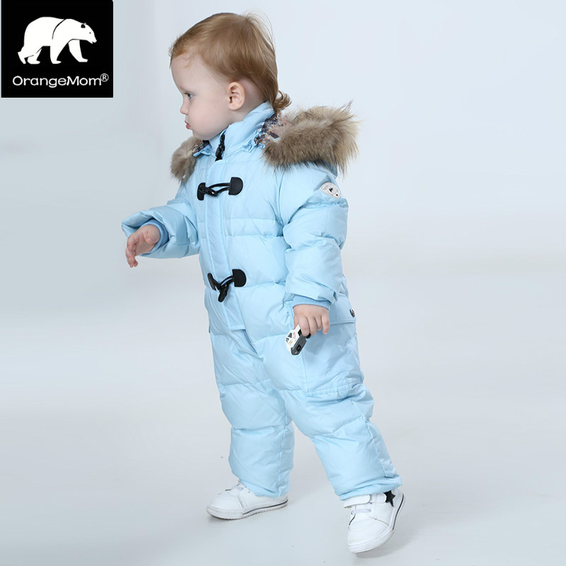 Orangemom jumpsuit kids winter baby snowsuit + nature fur  90 duck down jacket for girls coats Winter Park for boys overalls