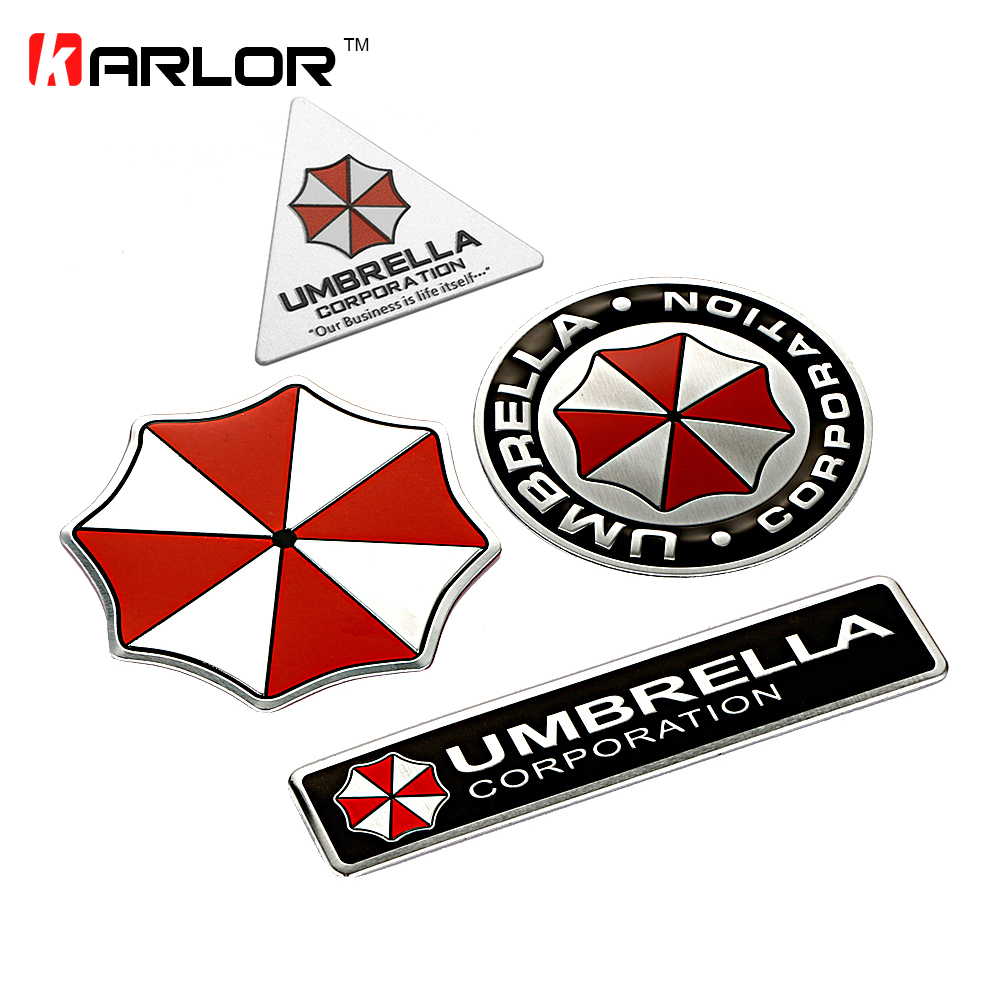 3D Resident Evil Umbrella Sticker Aluminum Emblem Badge Cool Car Trunk Metal Sticker Decals With Self Adhesive Car-styling