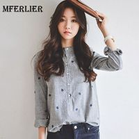 Mferlier Mori Girl Autumn Leaves Embroidery Blouse Stand Collar Striped Women Shirts Ladies Casual Long Sleeve
