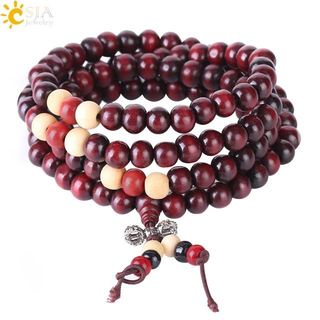 CSJA Religious 108 Mala Buddha Rosary Bracelet for Men 8mm Sandalwood Bead Prayer Jewelry Tibetan Wooden Bracelets Handmade S064