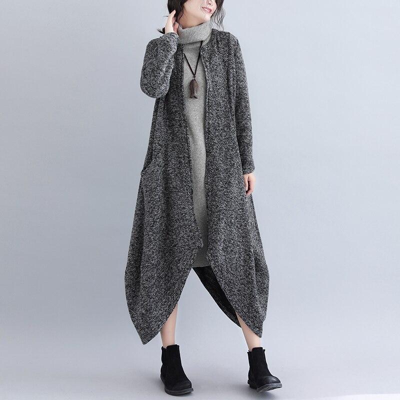 SuperAen Vintage Zipper Dress Women 2018 Autumn Oversized Long Dress Long Sleeve Casual Plus Size Dress Wool Vestidos Women