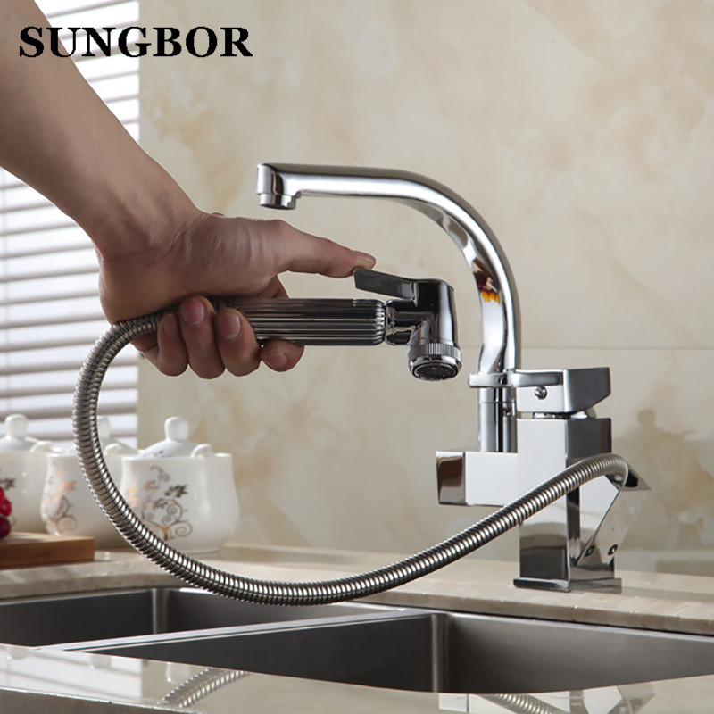 Chrome Brass Kitchen Faucet Pull Out Sprayer Vessel Bar Sink Faucet Single Handle Hole Two Types Outlet Water Mixer Tap CF-9119L шерлок сезон 1 серии 1 3 blu ray