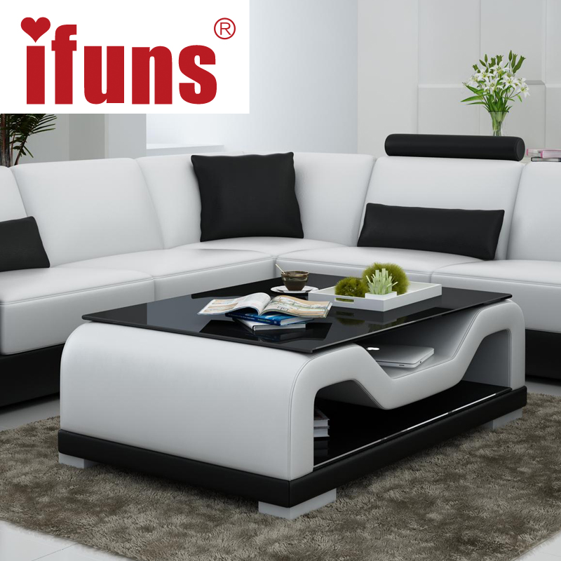 IFUNS modern home living room furniture side coffee table white and ...