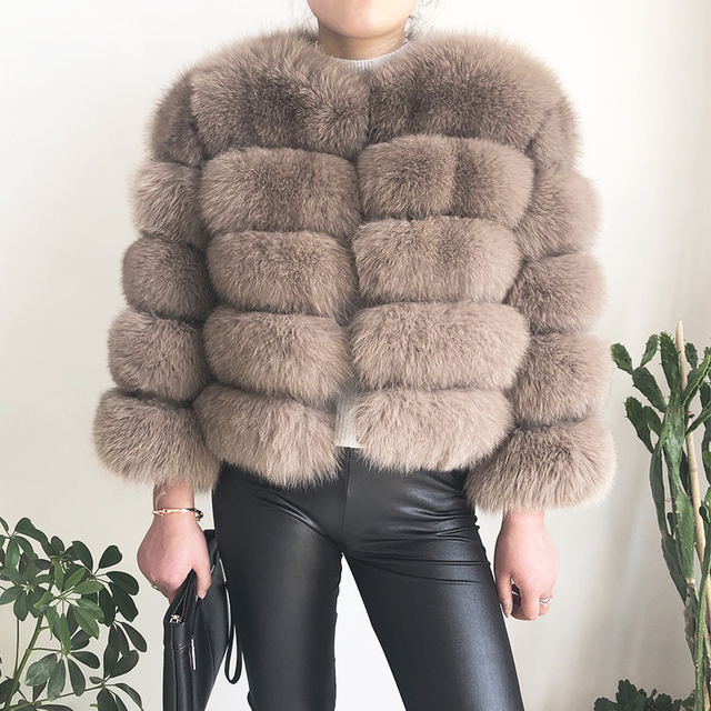 2019 new style real fur coat 100% natural fur jacket female winter warm leather fox fur coat high quality fur vest Free shipping 2