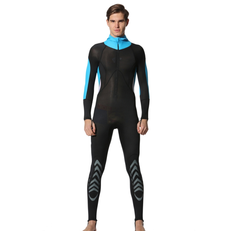 0.5mm Men and Women Long-sleeved Trousers Conjoined Thermal Swimwear / Wetsuit / Surfing Hooded Knee Pad nznx