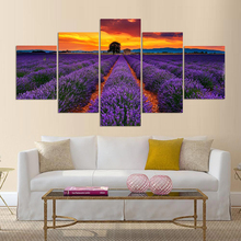 Lavender 5 Pieces Home HD Print Painting Artwork Landscape The Wall Art Modern Paintings Canvas Living Room