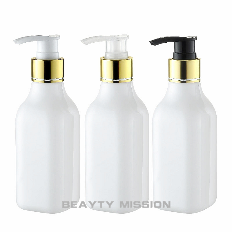 200ML White Square Plastic Bottle With Gold Lotion Pump 200CC Empty Cosmetic Container Lotion Shampoo Packaging