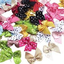 CNCRAFT 50pcs Dot Satin Ribbon Flowers Bows Gift Craft Wedding Decoration Upick