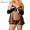 Plus size 4XL lingerie sexy hot erotic for women 2017 summer cut out transparent mini dress lace mesh splice slim sex underwear