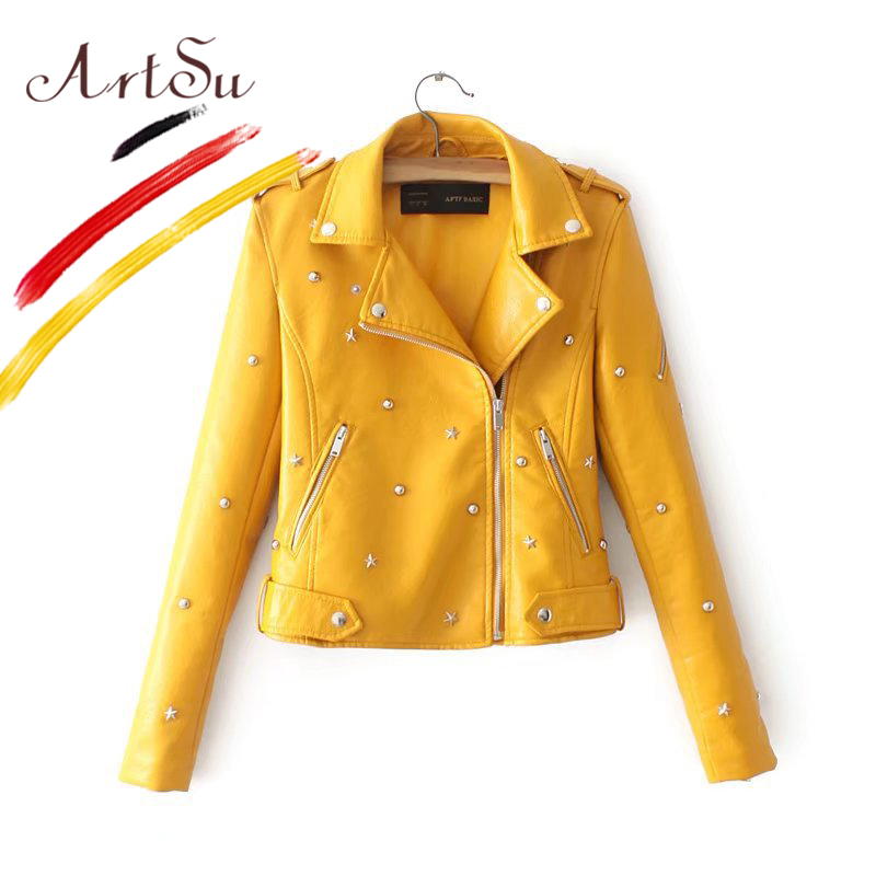 ArtSu PU Leather Jacket Coat Female Street Rivets Motorcycle Jackets 2017 Women Winter Outerwear Slim Chaqueta Mujer ASCO20228