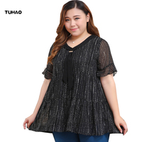 TUHAO 2018 Summer Blouses Fashion Women Ladies Work Wear Shirt Chiffon Blouse 10XL 8XL 6XL Plus Size Chiffon Shirt Clothing YZ01