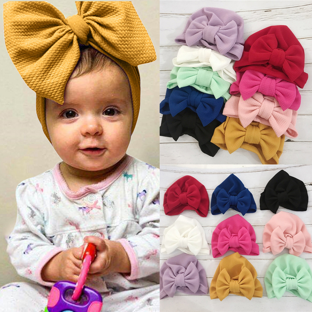 Baby Newborn Girl Infant Toddler Bowknot Beanie Cute Hat Unicorn Cap