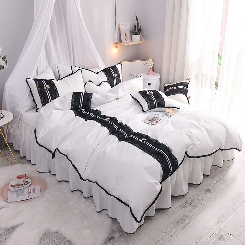 Bedroom Sets Full Size Mint Black And White Bedroom Ideas Lighting For Small Bedroom Bedroom With Black Accent Wall: Luxury Pure Cotton Black Lace Home Bedding Set King Queen