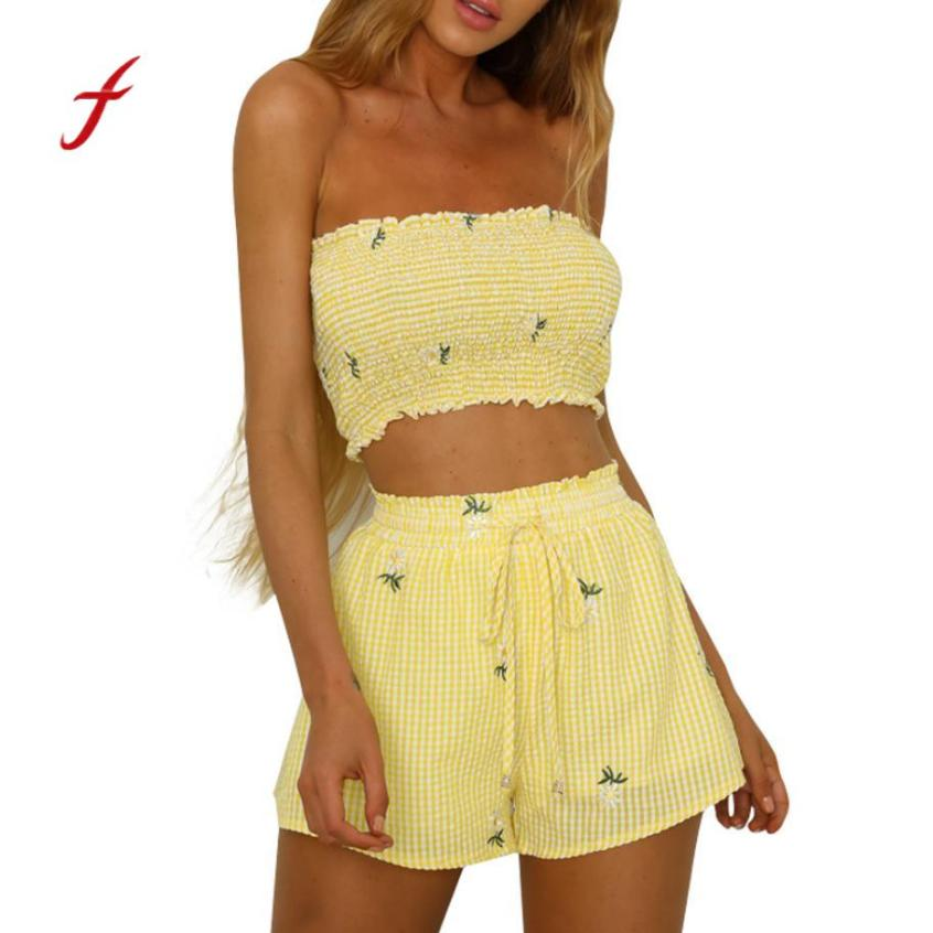 Feitong Two Pieces Sets Summer 2018 Women Girls Print Off Shoulder Vest Tank Tops + Shorts Bandage Pants Set