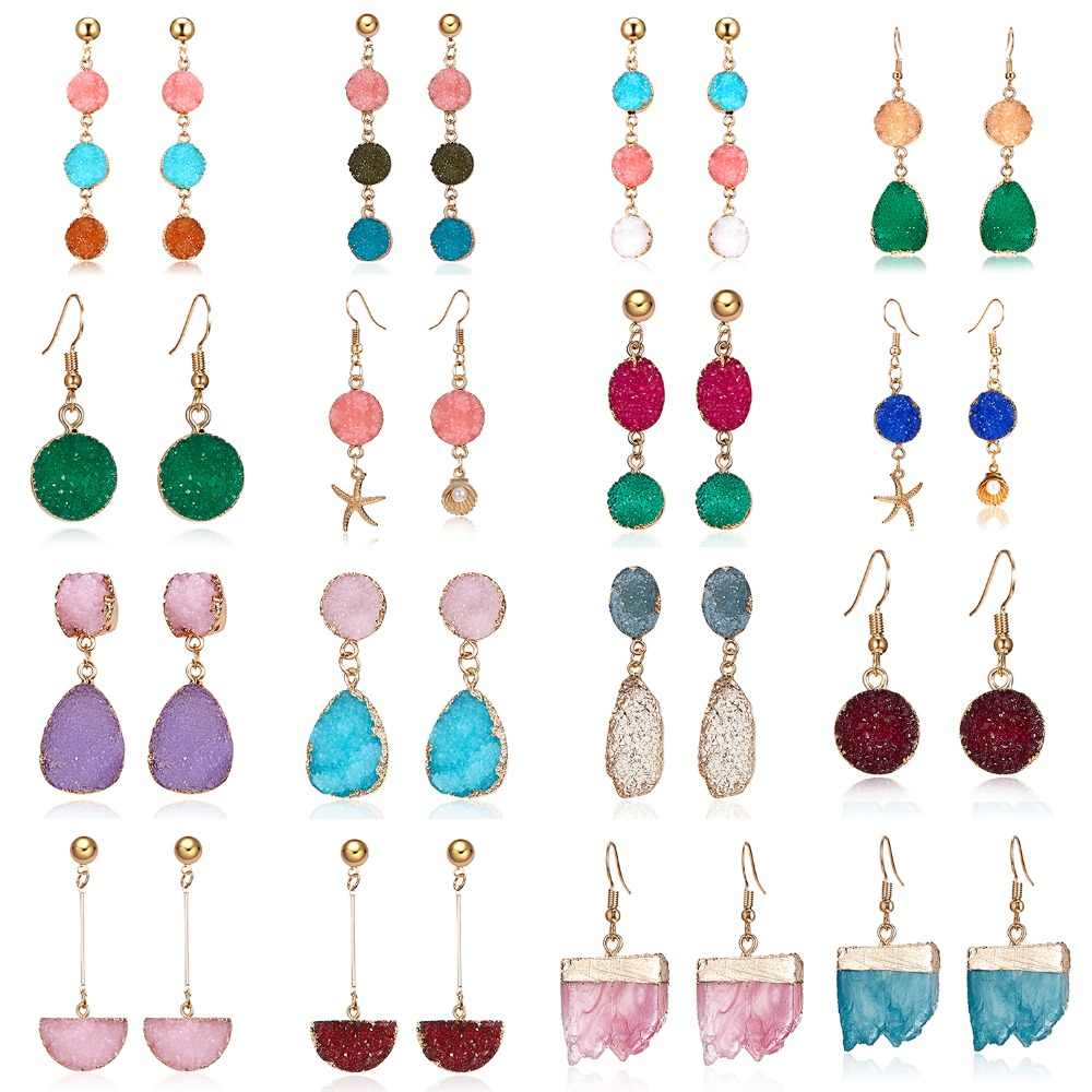 Handmade Multi-style Colorful Sparkly Resin Stone Dangle Earrings For Women Pendientes Fashion Jewelry Long Drop Earrings