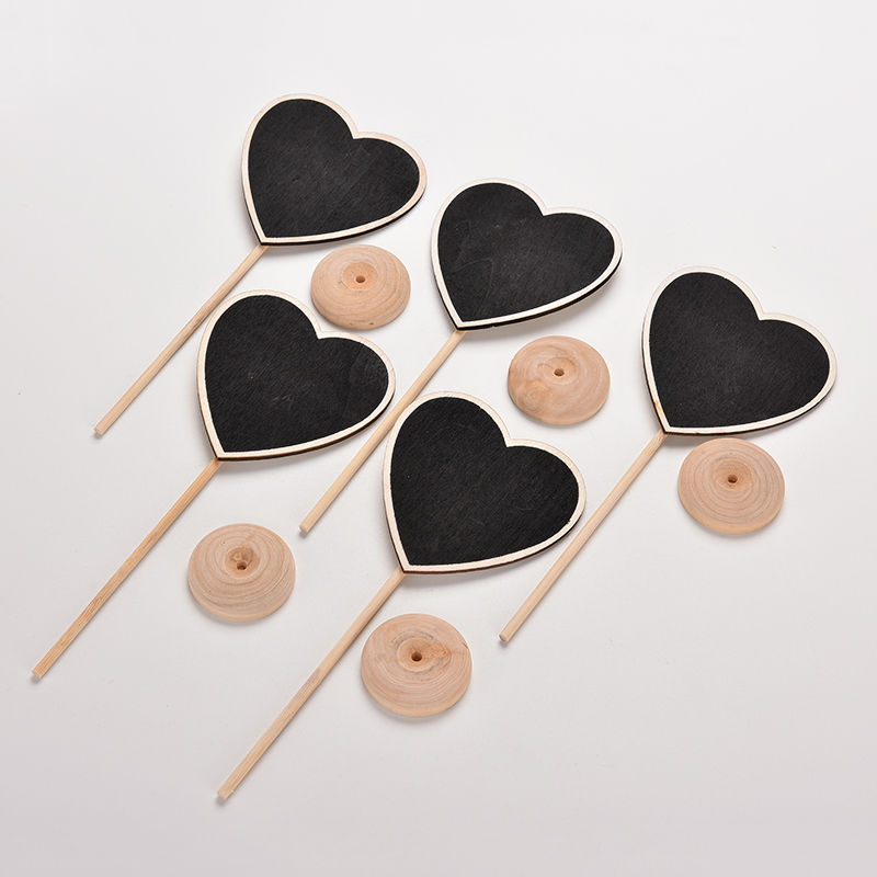 mini lovely heart wooden chalkboard blackboard on stick place holder table number wedding gift 10 pcs
