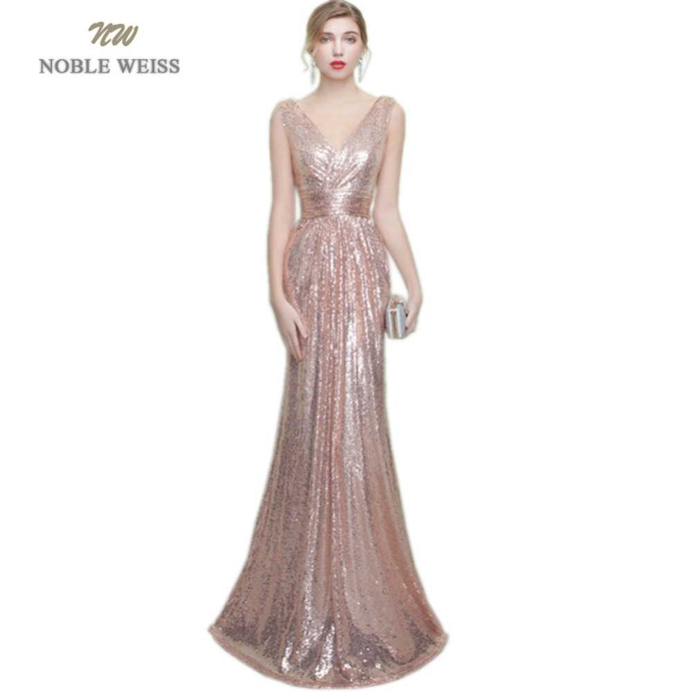 NOBLE WEISS Long   Prom     Dresses   2019 Sequin Vestido De Formatura Floor-Length Custom Made V-Neck Mermaid Pleat Party   Dress