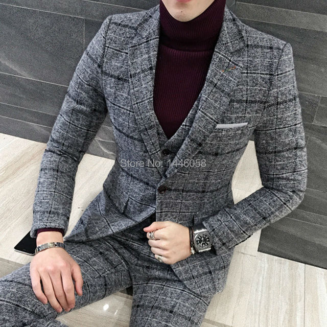 2017 New Arrival Grey Plaid Mens Dinner Party Prom Suits Groom Tuxedos Groomsmen Wedding Blazer Suits (Jacket+Pants+Vest)