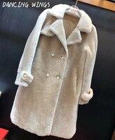 Двусторонний мех пальто Новинка 2018 года зимняя куртка элегантный жемчуг Кнопка реального норки меховой воротник натуральный овечья шерсть