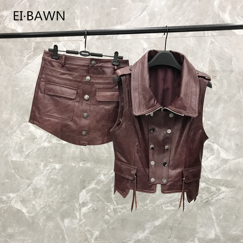2019 New Leather  Vest Shorts Suit Female Autumn And Autumn Wine Red Leather  Two-piece Real Leather Vest  Jacket Women
