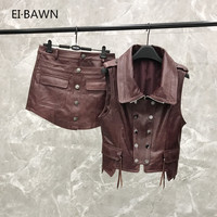 2019 New Leather Vest Shorts Suit Female Spring and Autumn Wine Red Leather Two piece Real Leather Vest Jacket Women