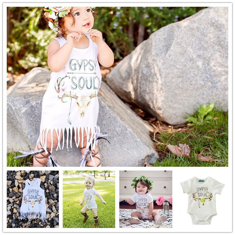Baby Girl Apparel Summer Girls Tassel Dress Letters GYPSY SOUL Deer Head Printing White Color Vest Toldders Dresses And Rompers