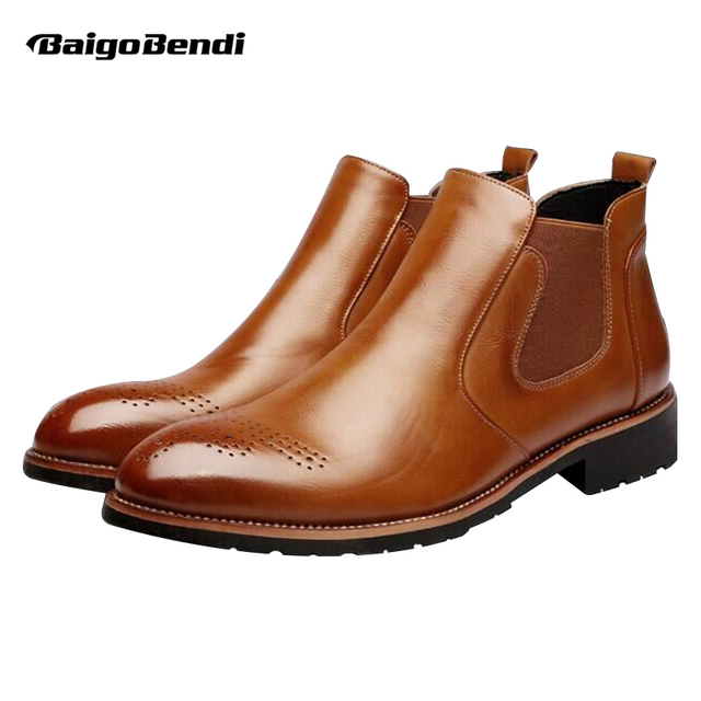 060b5f50df44b Mens Leather Formal Dress Business Oxford Brogue Wingtip Ankle Boots Chukka  Shoes