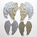 3 pairs/set Gold Silvery Sequins Patch DIY Angel Wings Iron-On For Clothes Garment Applique DIY Accessory