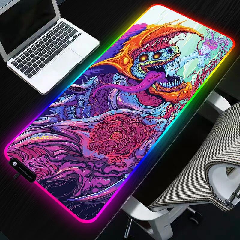 Sovawin 800x300 grand LED RGB éclairage Gaming tapis de souris XL Gamer tapis Grande souris tapis cs go Hyper bête pour PC ordinateur