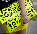 popular fluorescence color hollow-out envelope bags,women's candy color one shoulder handbags,fashion day clutch bags