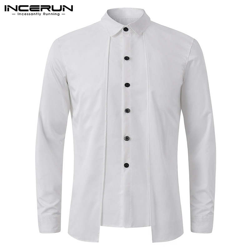INCERUN Social Mens Shirts Dress Long Sleeve Cotton Casual Shirts Plain Formal Man Fashion Slim Fit Shirts Camisas Masculina Tee
