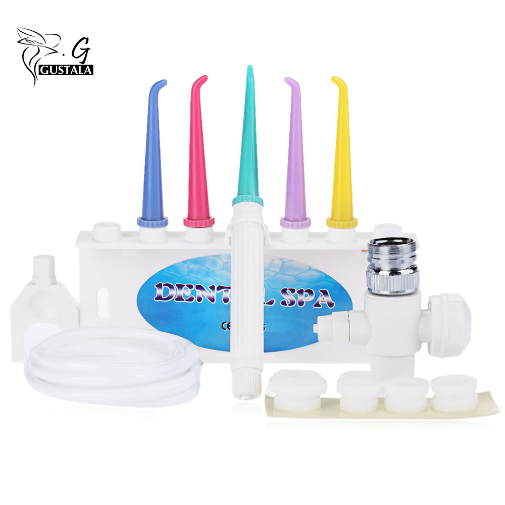 Gustala Convenient Dental Water Floss Oral Irrigator Dental SPA Water Cleaner Tooth Flosser Cleaning Oral Gum Dental Care Jet 9 nozzles low noise oral irrigator water flosser irrigador dental floss jet dental spa teeth cleaning tooth cleaner hygiene care