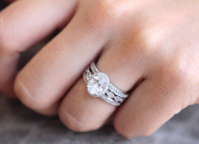 3.55CTW Oval Cut Simulated Diamond 925 Sterling Silver with Gold Wedding Engagement Ring