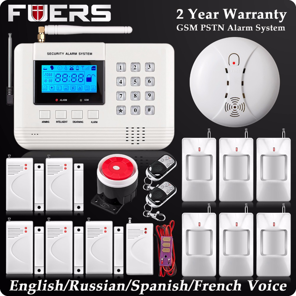 New Wireless PSTN GSM SMS Alarm LCD Display Burglar Home Alarm System Fire Alarm Smoke Detector Sensor Water Leak Detector цена 2017
