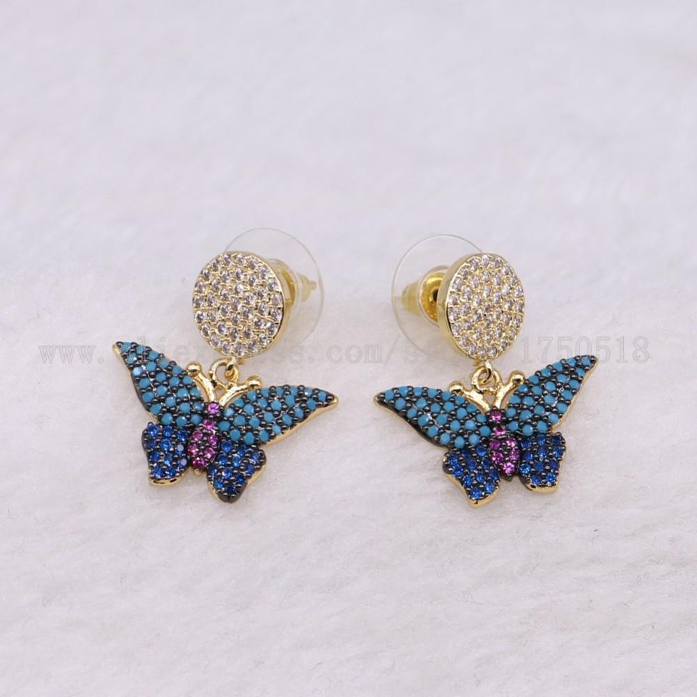 5 пар крошечные бабочка Серьги красочные насекомые Fly Би высокое качество подарок для леди насекомых Серьги ошибок Jewelry Серьги 3240