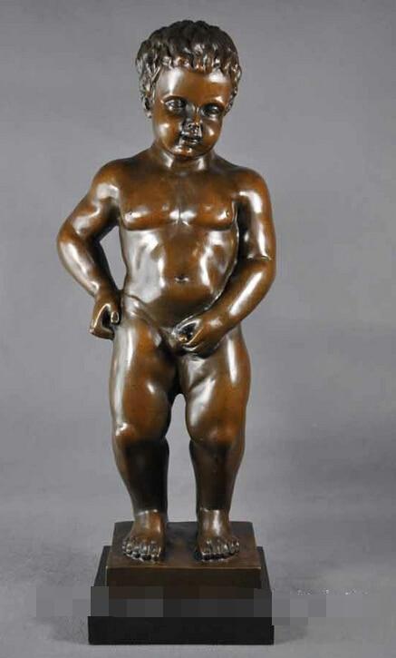 R0722 Details About Art Deco Sculpture Little Boy Peeing Child Bronze Statue (B0413)