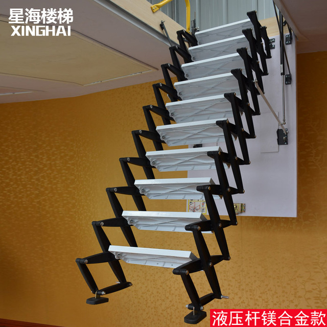 High End Home High Profile Titanium Magnesium Alloy Retractable Attic Stair  Lift Stair Staircase