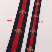 5Yards 25/38mm width Jacquard Bee Polyester Webbing Ribbon Tape Bag Straps Belt Waistband Key fods ,bag accessories