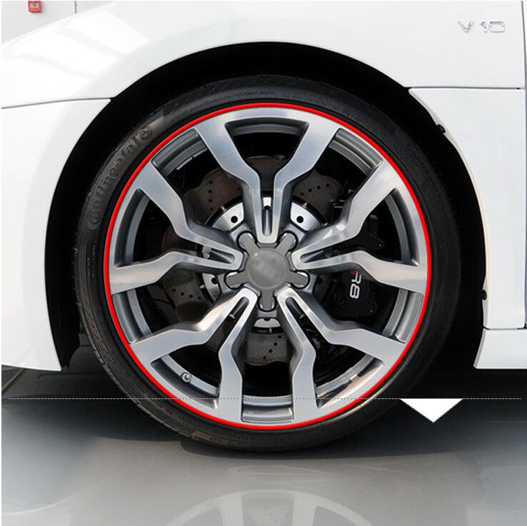 8M Car Wheel Hub TRIM Mouldings Stripe For Jeep Cherokee 2014 2015 2016 Volkswagen vw POLO Tiguan Passat sticker Accessories