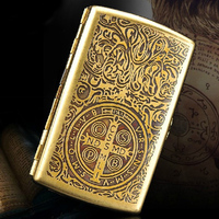 Europe Royal Pure Manual Customization Cigarette Case 100 Copper With Gift Box Vintage Carving Pattern And