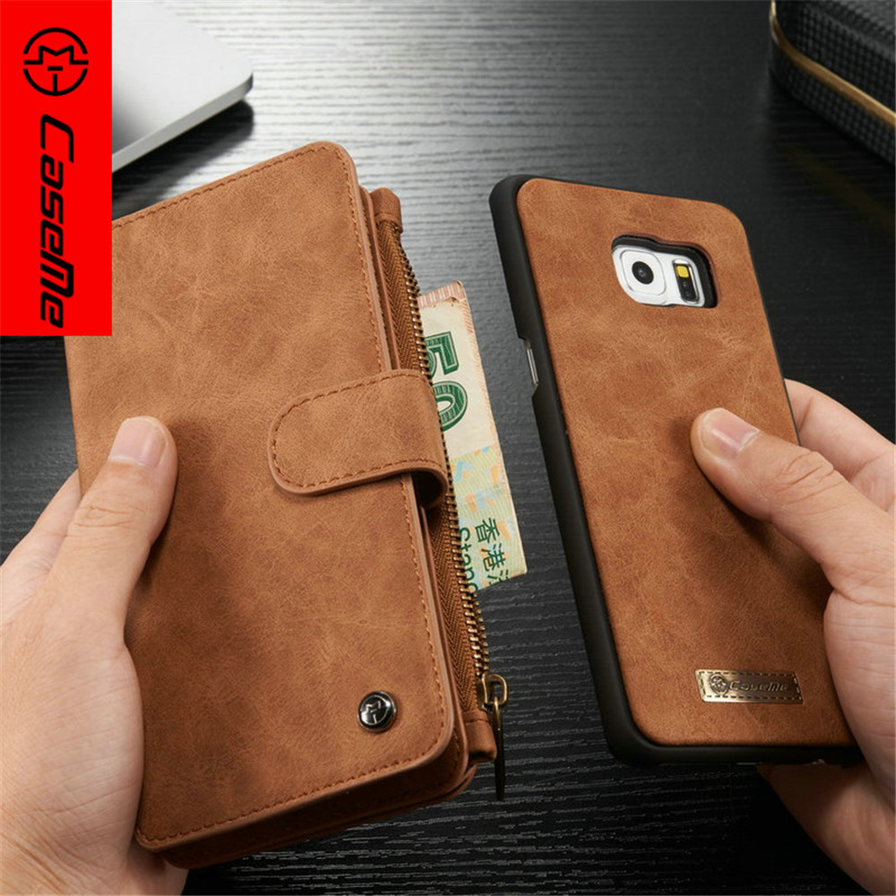 Leather Wallet Case for Samsung Galaxy S8 S7 S6 Edge Plus Note 5 Business Retro Flip Zipper Phone Cover for iphone7 Wallet Case